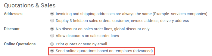 how to create and edit an online quotation odoo 10 0 documentation