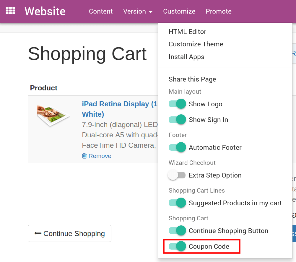 How to create & share promotional codes — Odoo 10.0 documentation