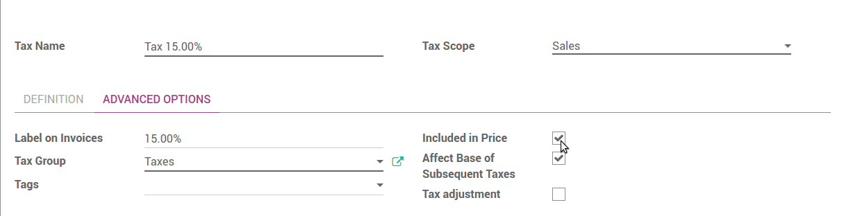 how to set tax included prices odoo 10 0 documentation