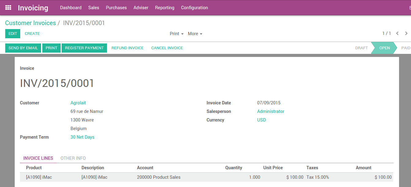 From Customer Invoice To Payments Collection Odoo Documentation - Send invoice to customer journal entry