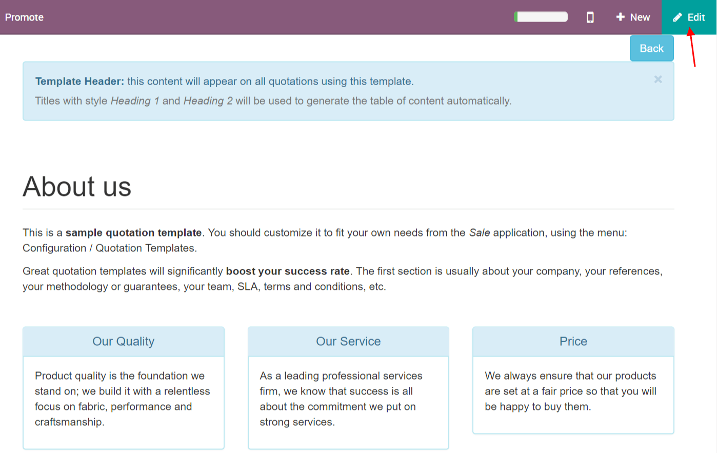 use quotation templates odoo 11 0 documentation