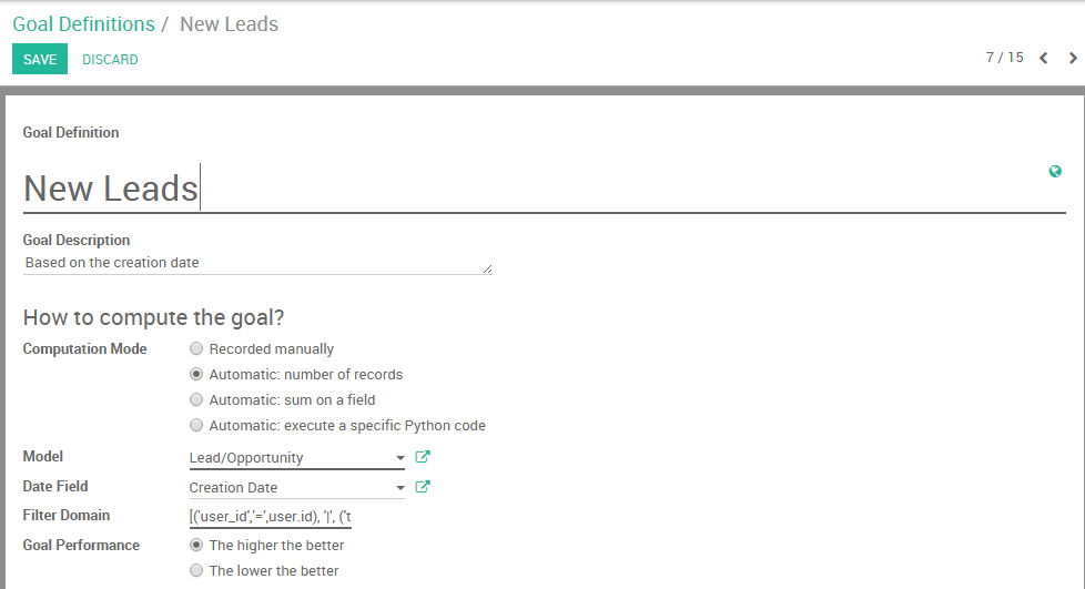 View of the goal definition form and a goal definition being created for Odoo Sales