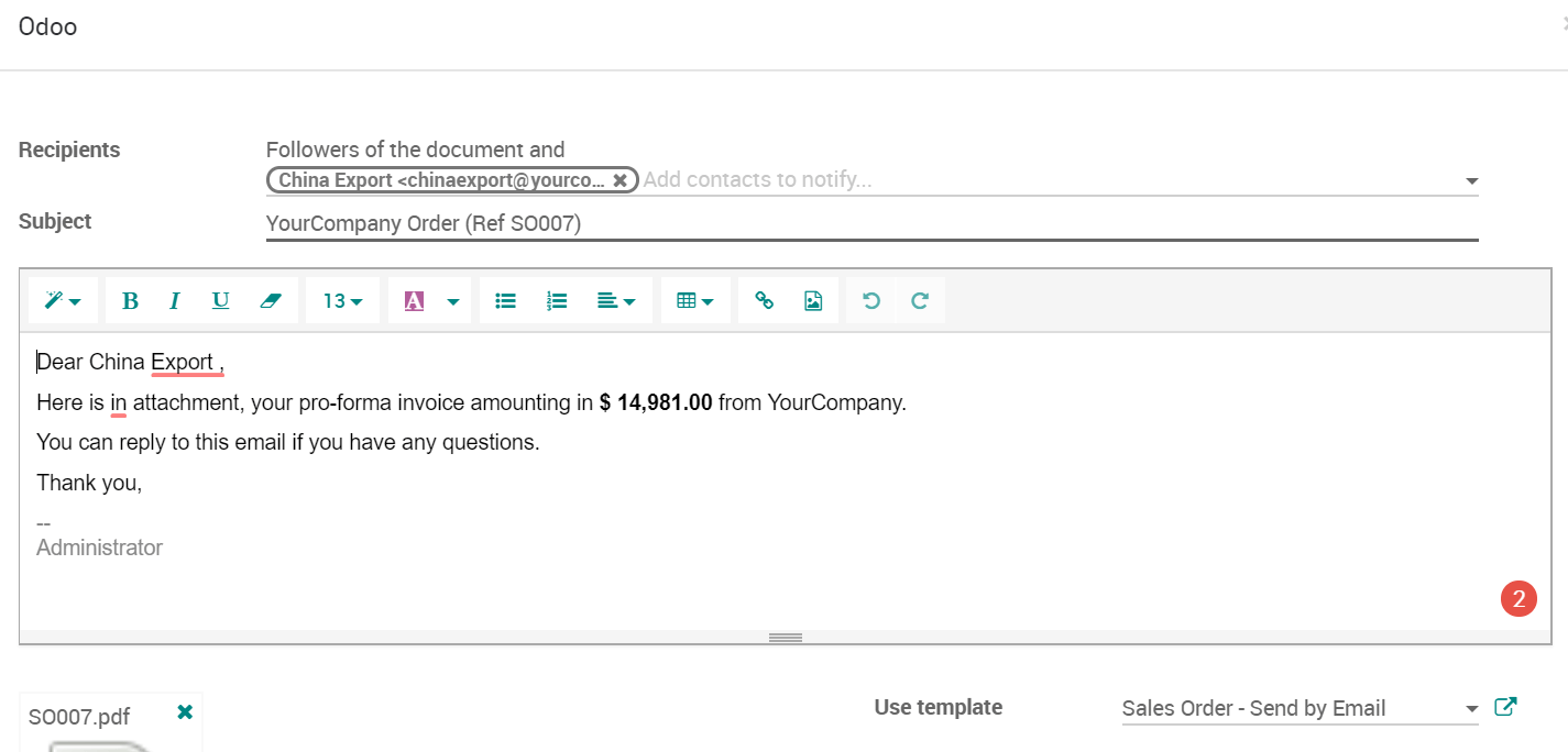 Proforma Invoice | Send A Pro Forma Invoice Odoo 12 0 Documentation