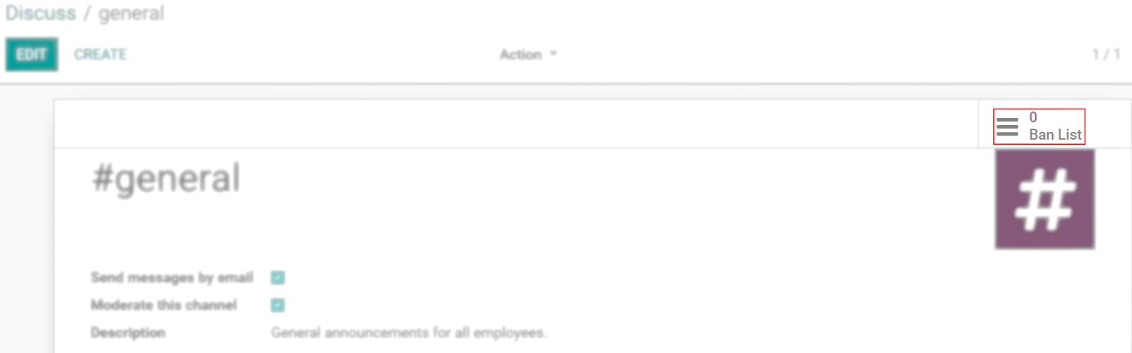 Chế độ xem biểu mẫu cài đặt của kênh nhấn mạnh menu cấm Danh sách trong Odoo Thảo luận