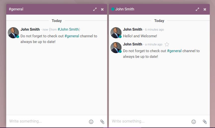 Xem một vài tin nhắn trên cửa sổ trò chuyện cho Odoo Thảo luận