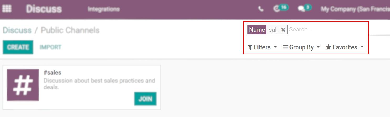 Xem kênh đang được tìm kiếm thông qua các bộ lọc trong Odoo Thảo luận