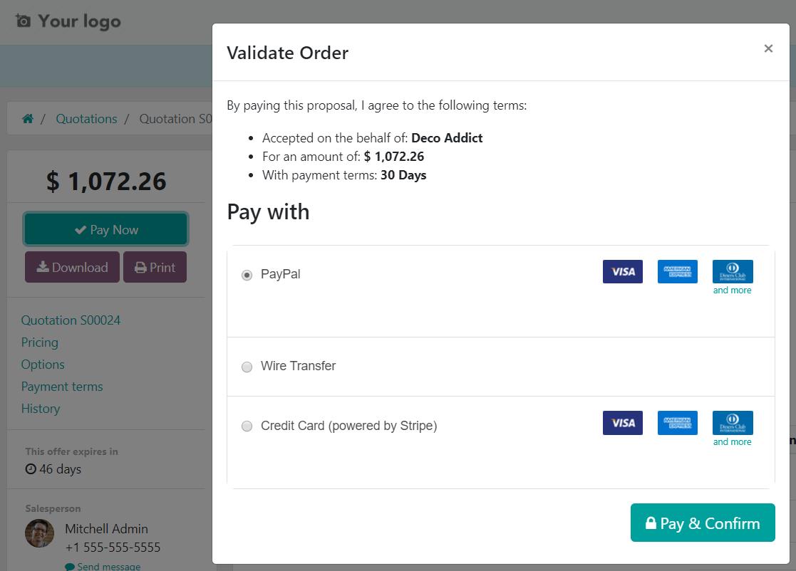 Làm thế nào để đăng ký thanh toán trên Odoo Sales?