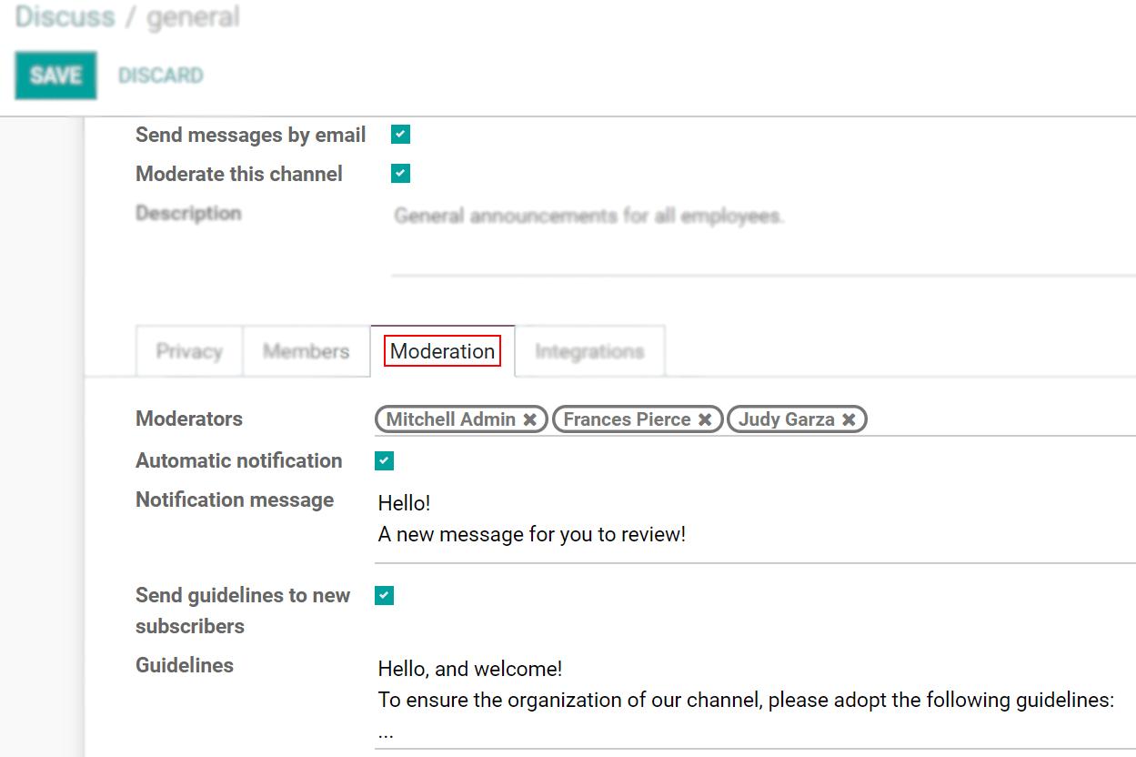 Chế độ xem biểu mẫu cài đặt của kênh nhấn mạnh vào kiểm duyệt tab trong Odoo Thảo luận