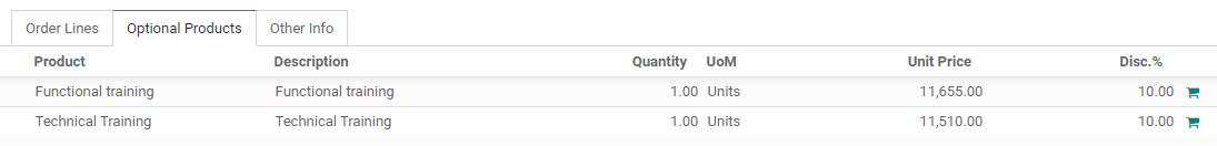 Cách thêm các sản phẩm tùy chọn vào báo giá của bạn trên Bán hàng Odoo