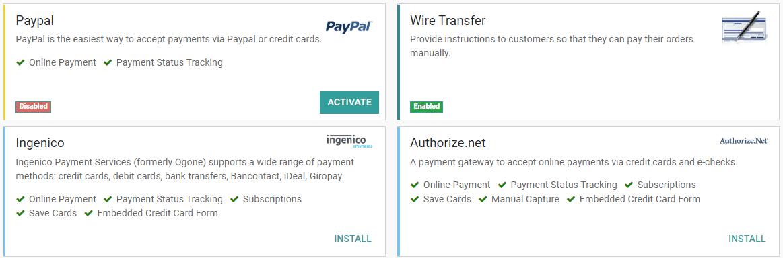 Nhấp vào cài đặt, sau đó nhấp vào kích hoạt để làm cho người nhận thanh toán có sẵn trên Odoo.