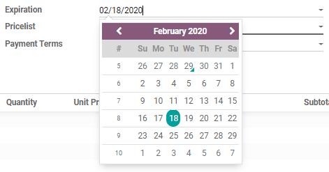Làm thế nào để định cấu hình thời hạn trên Odoo Sales?