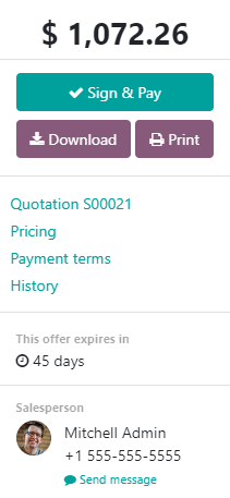 Khách hàng sẽ thấy thời hạn trên Odoo Sales như thế nào?