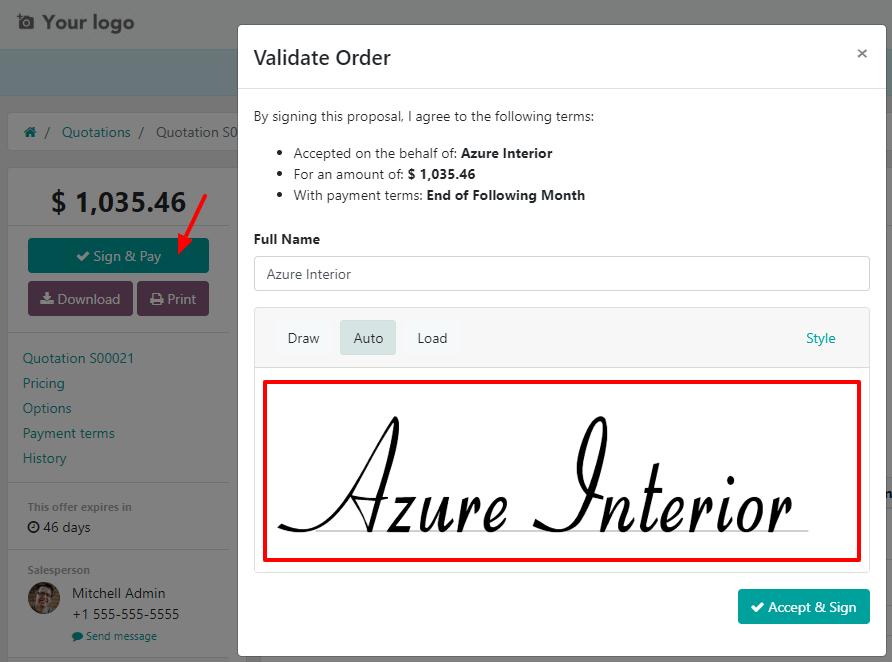 Làm thế nào để xác nhận đơn hàng bằng chữ ký trên Odoo Sales?