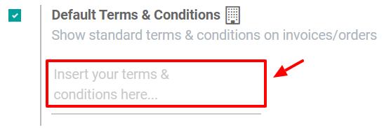 Các Điều khoản & Điều kiện Mặc định về báo giá trên Bán hàng Odoo