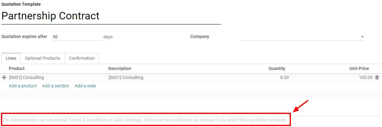 Thêm Điều khoản & Điều kiện Mặc định vào các mẫu báo giá của bạn trên Bán hàng Odoo