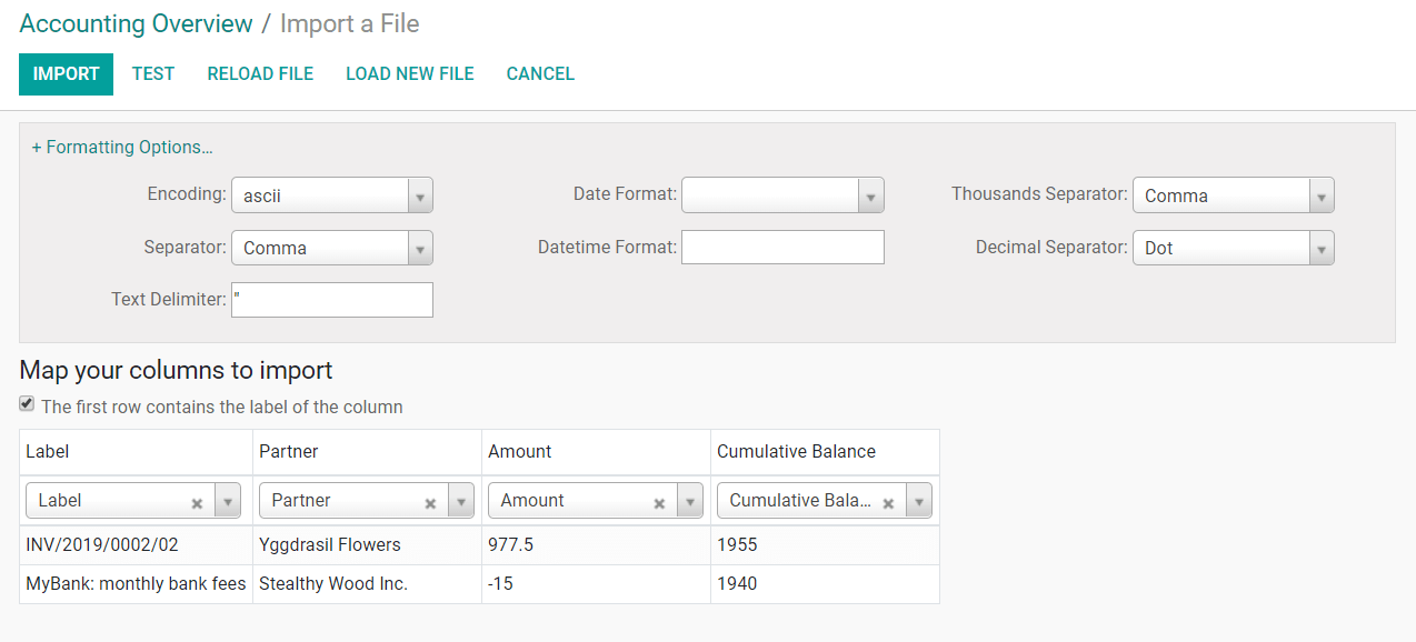 Register bank statements manually in Odoo Accounting