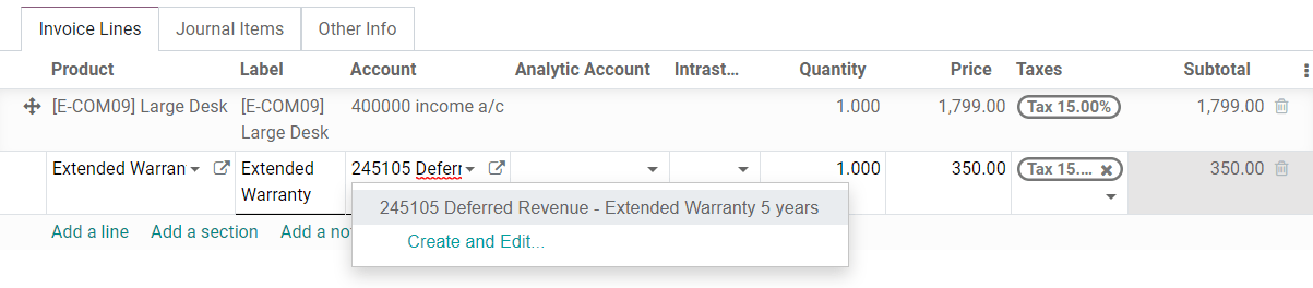 Selection of a Deferred Revenue Account on a draft invoice in Odoo Accounting