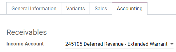 Change of the Income Account for a product in Odoo