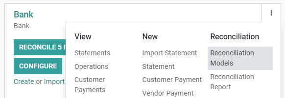 Open the Reconciliation Model menu from the overview dashboard in Odoo Accounting