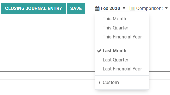 Select the period for the tax return and create a closing journal entry in Odoo Accounting