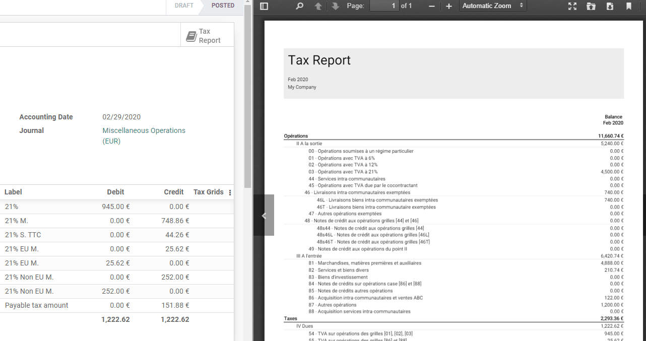 download the PDF with your Tax Report in Odoo Accounting