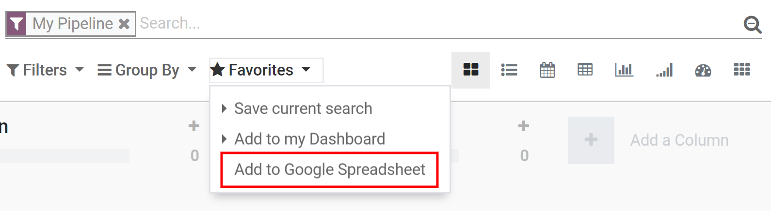 From the CRM application, for example, click on add to Google Spreadsheet in Odoo