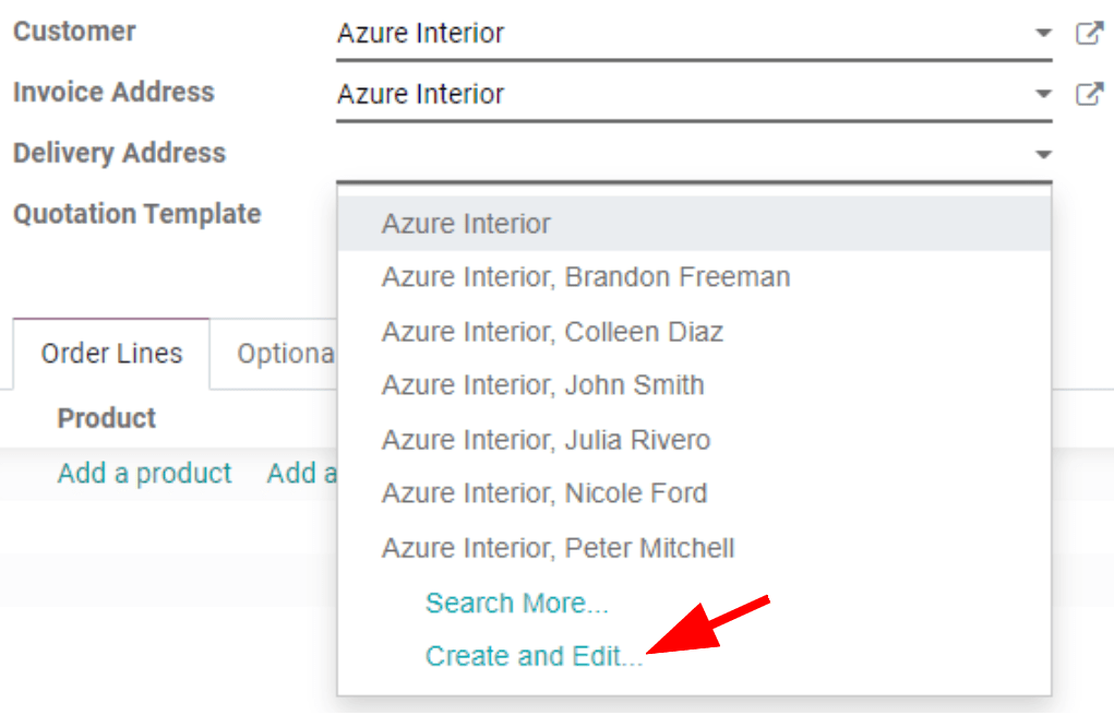How to add addresses from a quotation on Odoo Sales?