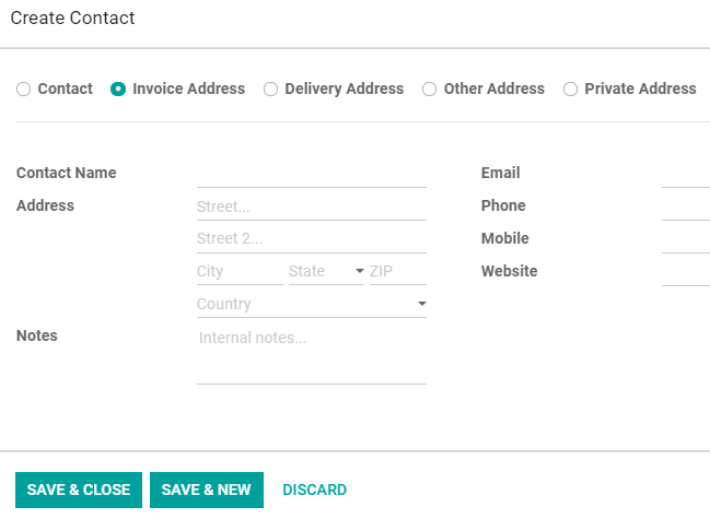 How to add addresses from a contact form on Odoo Sales?