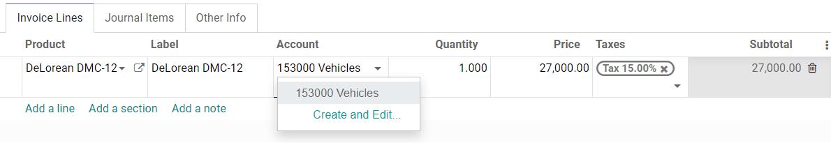 在Odoo Accounting中选择帐单草稿上的资产帐户