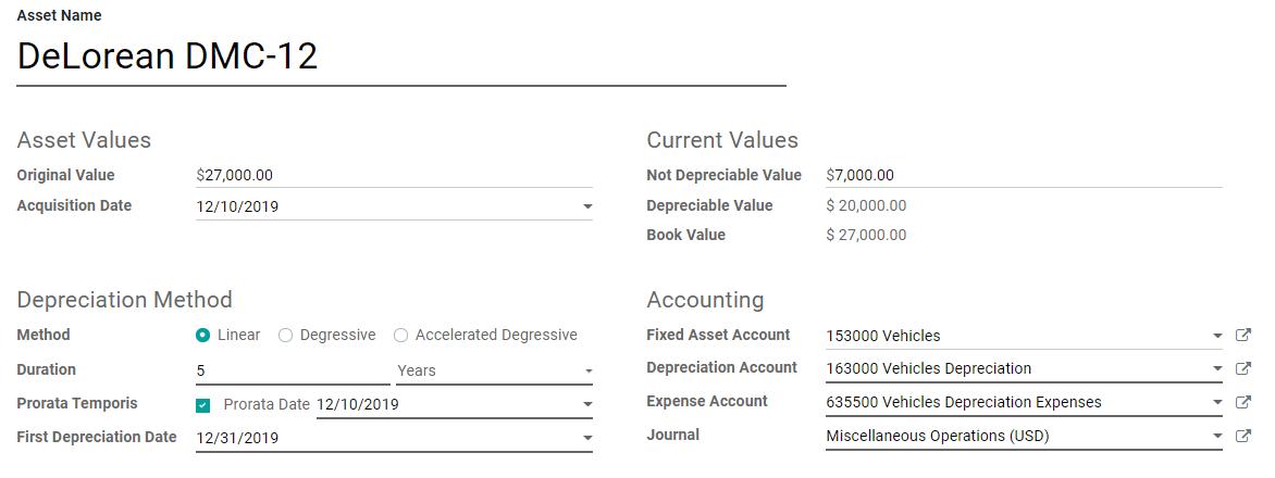 Odoo Accounting中的资产输入