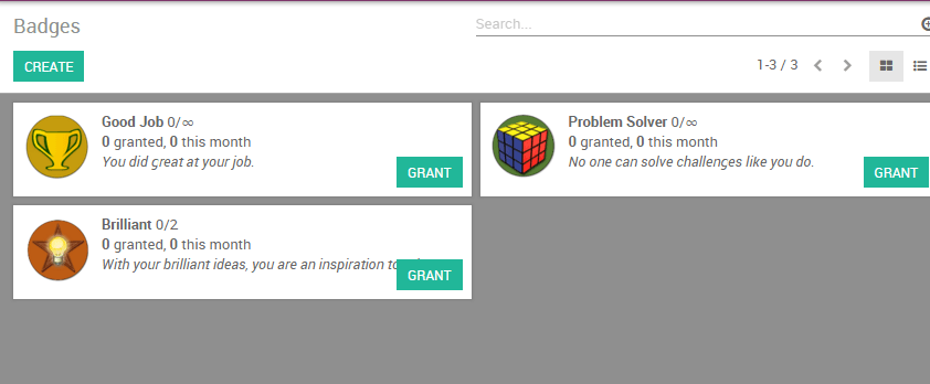 View of the badges page in Odoo