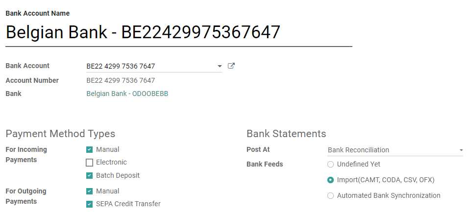 Advanced configuration of a bank account in Odoo Accounting