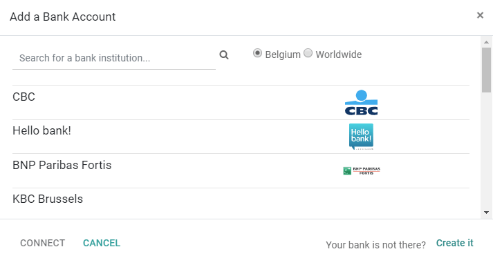 Select a bank institution in the list and connect it to Odoo Accounting