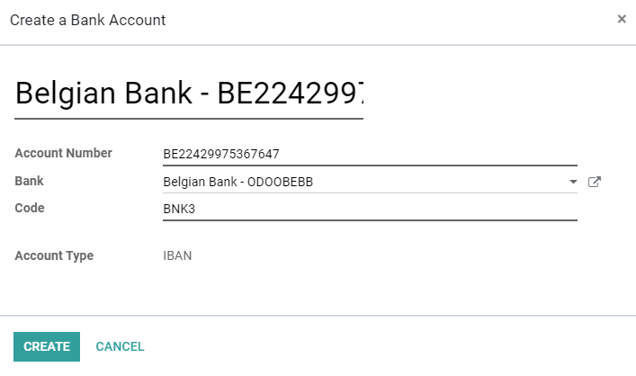 Add manually a new bank account in Odoo Accounting
