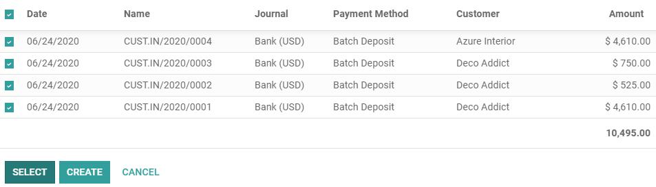 选择所有要包括在批量存款中的付款