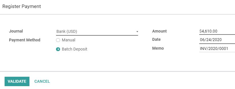 在Odoo Accounting中将客户付款注册为批量存款的一部分