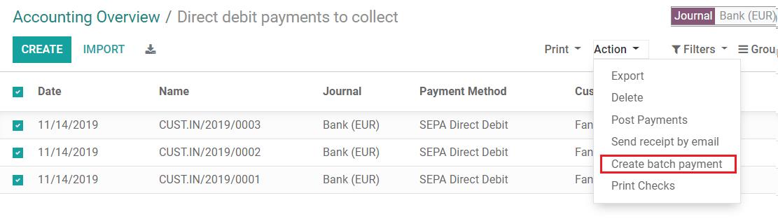 使用Odoo Accounting中的所有SDD付款创建批量付款