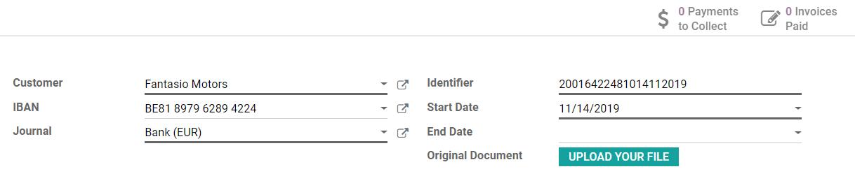在Odoo会计中填写SEPA直接付款