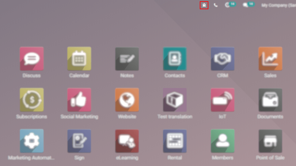Overview of a console page and the debug icon being shown in Odoo