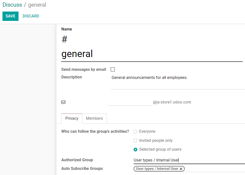 View of a channel's settings form in Odoo Discuss