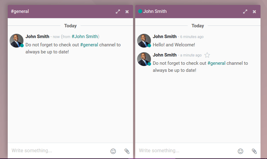 View of a couple of chat window messages for Odoo Discuss
