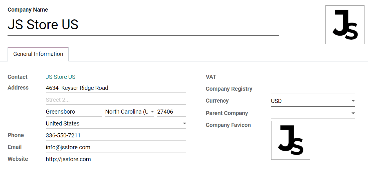 Overview of a new company's form in Odoo