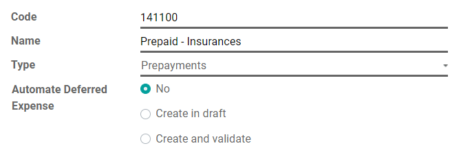 在Odoo会计中配置递延费用帐户