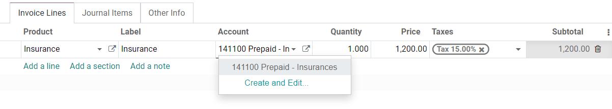 在Odoo会计中的帐单草稿上选择递延费用帐户