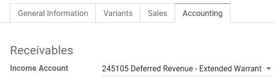 在Odoo中更改产品的收入帐户