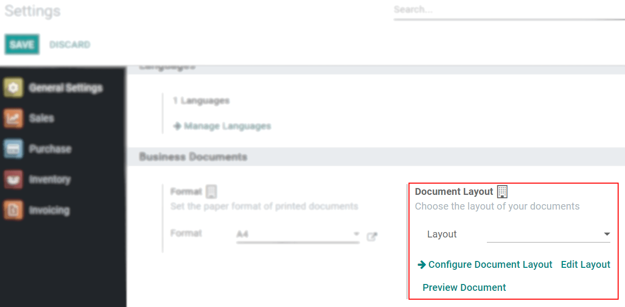 View of the settings page emphasizing the document layout field in Odoo