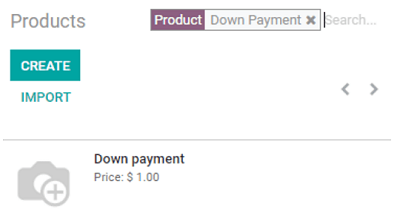 Creation of a down payment product on Odoo Sales