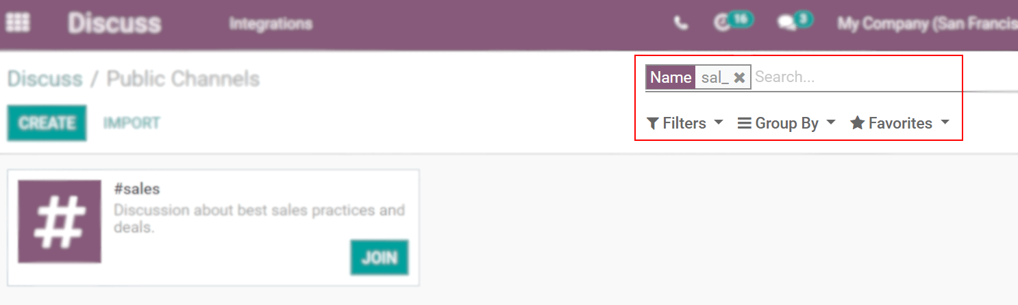 View of a channel being searched through filters in Odoo Discuss