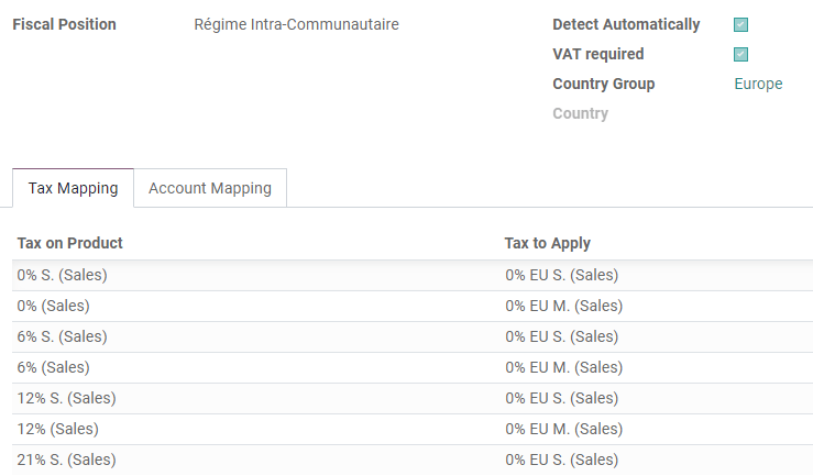 Example: Belgian to Intra-Community tax mapping with Fiscal Positions in Odoo Accounting