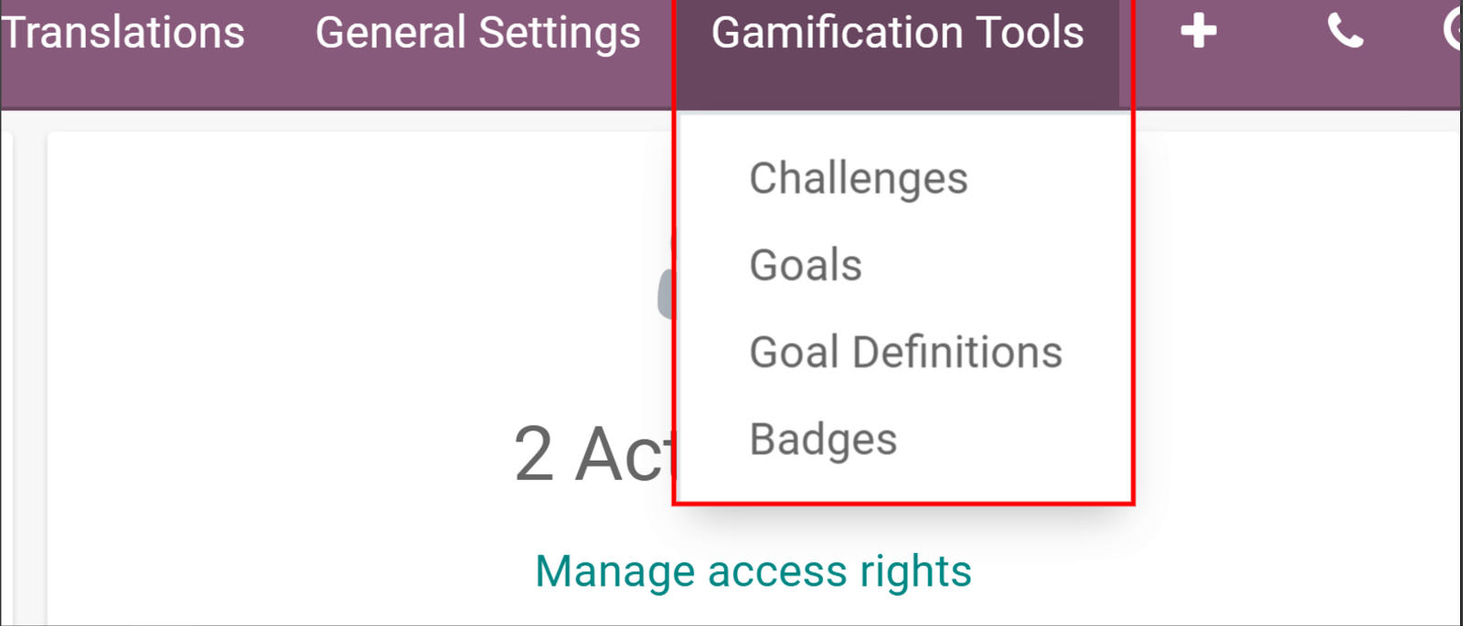 View if the gamification tools menu in Odoo Settings